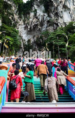 Batu Caves, Visitors Ascending Steps, Selangor, Malaysia. - Stock Image