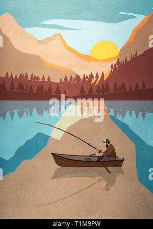 Man fishing in boat on tranquil mountain lake - Stock Image