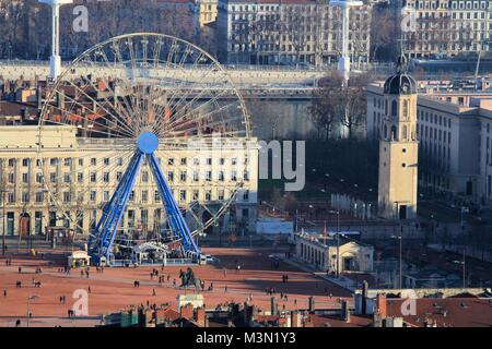 Aerial view of old city center of Lyon, France - Stock Image