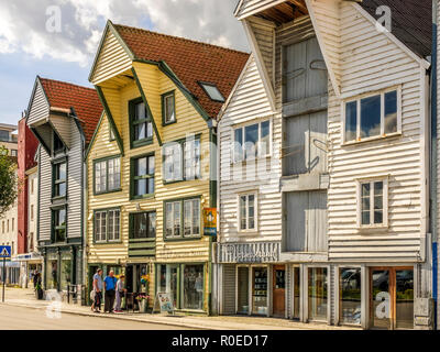 Old Warehouses Converted Into Shops, Stavanger, Norway - Stock Image