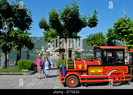 tour train in Orta San Giulio by the Orta Lake - Piedmont - Italy - Stock Image