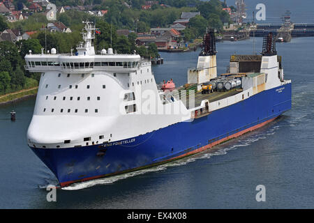 RoRo-Freighter Stena Foreteller passing Kiel-Canal bound for Bremerhaven - Stock Image