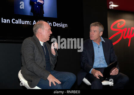 Ian Callum discusses his illustrious design career with guest host,Tiff Needell, at the Supagard Theatre, during the 2019 London Classic Car Show - Stock Image