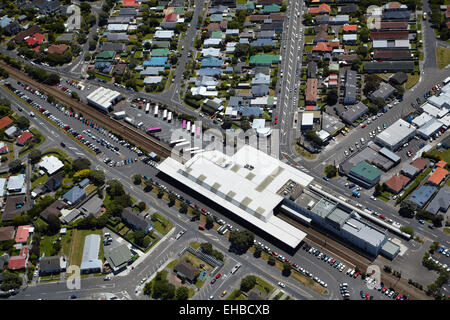 Waterloo Interchange (Hutt Central) Railway Station, Lower Hutt, Wellington, North Island, New Zealand - aerial - Stock Image