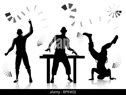 Dj and clubber silhouettes - Stock Image
