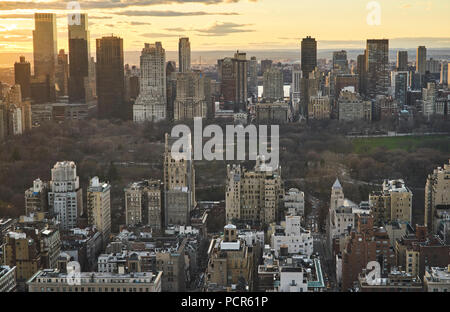 Panoramic view of Central Park from the Upper East Side - Stock Image