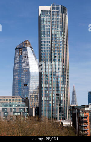 South Bank Tower (formerly known as King's Reach Tower & IPC Building) with One Blackfriars and the OXO Tower, Upper Ground, Southbank, London, UK. - Stock Image