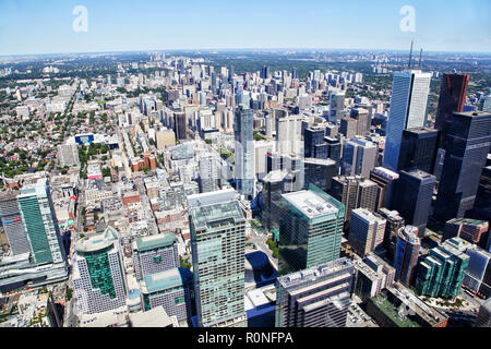 Aerial view of Toronto's downtown financial district showing skyscaper skyline of corporate business buildings. - Stock Image