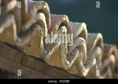 A shot of an old tile roofing. - Stock Image