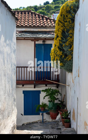 A Street in Skopelos Town, Northern Sporades Greece - Stock Image