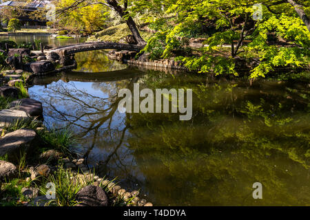 Higo Hosokawa Garden is a pond garden that takes advantage of the natural scenery of the Mejirodai Plateau. The area around this park has been the res - Stock Image