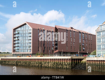 Smokehouses apartments, a residential development on the site of the old Smith's Dock in North Shields, north east England, UK - Stock Image