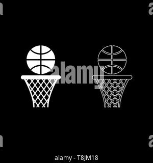 Basketball basket and ball Hoop net and ball icon outline set white color vector illustration flat style simple image - Stock Image