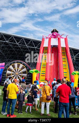February 2, 2019 - Abu Dhabi, UAE: Cactus inflated slides at Yas Kids Festival Du Arena, Abu Dhabi, UAE - Stock Image