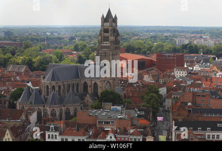Aerial view of Saint Salvator Cathedral, Old Town of Bruges, Belgium - Stock Image
