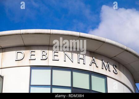 Debenhams store logo, ashford, kent, uk - Stock Image
