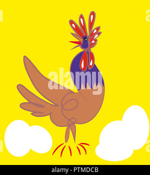 Rooster and eggs.   illustration of screaming rooster and eggs, yellow background. - Stock Image