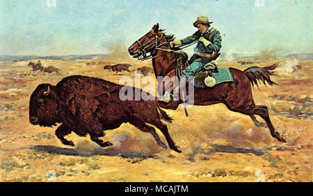 US Cavalryman hunts a buffalo.  Charles Schreyvogel (January 4, 1861-January 27, 1912) was a painter of Western subject matter in the days of the disappearing frontier. Schreyvogel was especially interested in military life. - Stock Image