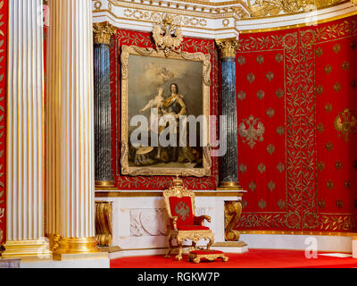 19 September 2018: St Petersburg, Russia - Throne and portrait of Peter the Great in the Small Throne Room in the Winter Palace, part of the Hermitage - Stock Image