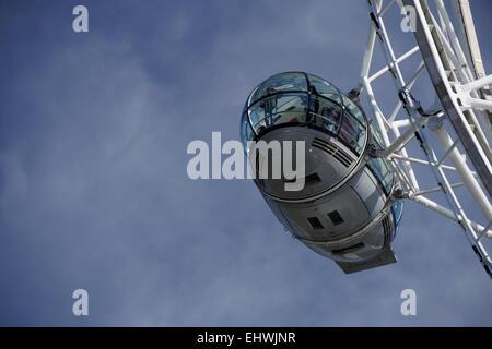 Close up of passenger pod the Coca Cola London Eye - Stock Image