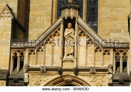 Carvings above a door Mansfield College Oxford England UK - Stock Image