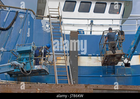 Macduff boatbuilding yard in Grampian Region North East Scotland. - Stock Image