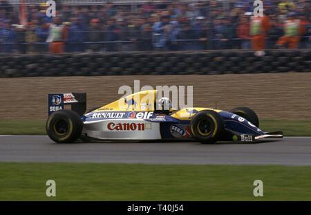 1993 European Grand Prix, Donington. Damon Hill  in Williams Renault FW15C - Stock Image