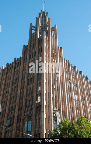 The landmark Manchester Unity Building in Melbourne, Australia, an Art Deco Gothic inspired office building constructed in 1932 - Stock Image