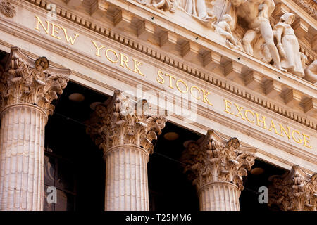Detail on the New York Stock Exchange Building in Lower Manhattan, New York City USA - Stock Image