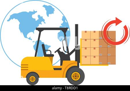lift truck with boxes, globe and return arrow vector illustration graphic design - Stock Image