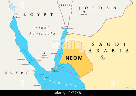 NEOM political map of the 500 billion dollar megacity project in Saudi Arabia along the Red Sea coast. Location of the smart and tourist city. - Stock Image