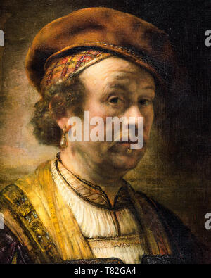Rembrandt, self portrait of the artist (detail), 1650, painting - Stock Image