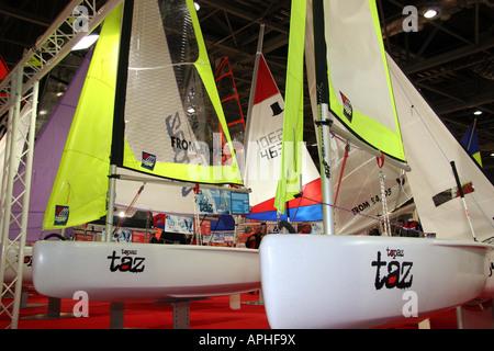Topaz Taz sailing dingies, small sailng boat with bright sails - Stock Image