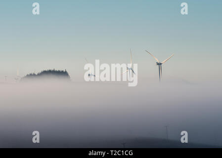 Wind turbines rising above a bank of morning fog in mid Wales, near Newtown, Powys, UK - Stock Image
