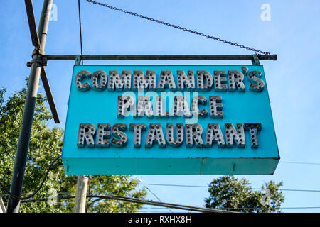 Commander's Palace Restaurant sign in front of the building, New Orleans Garden District, New Orleans, Louisiana, LA, USA. - Stock Image