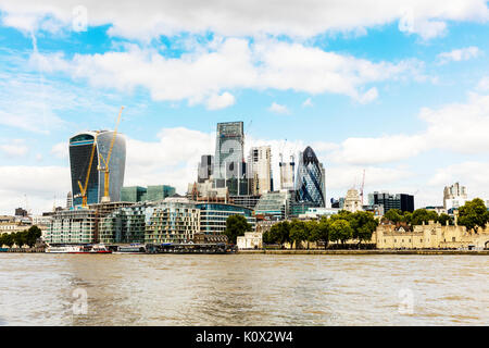 City of London skyline, Tower 42, The Cheesegrater and Walkie Talkie skyscrapers, London, England, United Kingdom, Europe, 20 fenchurch street, cities - Stock Image