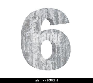 3D rendering concrete number 6 six. 3D render Illustration. - Stock Image