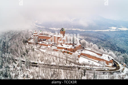 Winter view of the Chateau du Haut-Koenigsbourg in the Vosges mountains. Alsace, France - Stock Image