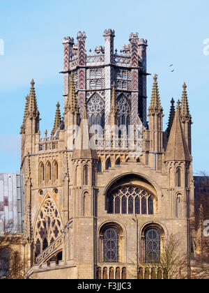 The famous lantern on top of the Octagon of Ely Cathedral in Cambridgeshire, England, UK. Viewed from the south - Stock Image