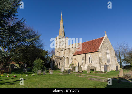 The church of St Peter in the village of Newton Bromswold, Northamptonshire, UK; earliest parts date from 13th century with restoraration in 1879 - Stock Image