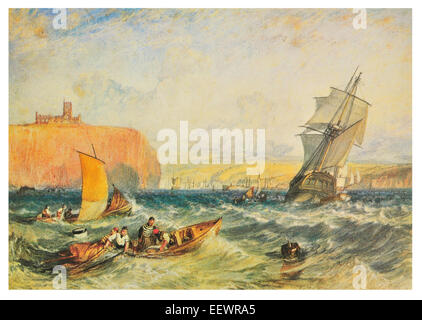 Whitby by Joseph Mallord William Turner fisherman pulling nets merchant ship vessel sail sailing Abbey Church port - Stock Image