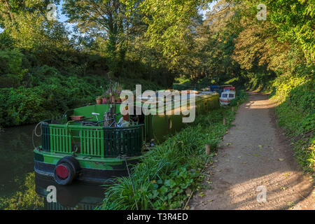 Bath, North East Somerset, England, UK - September 27, 2018: Narrowboats at the Kennet and Avon Canal - Stock Image
