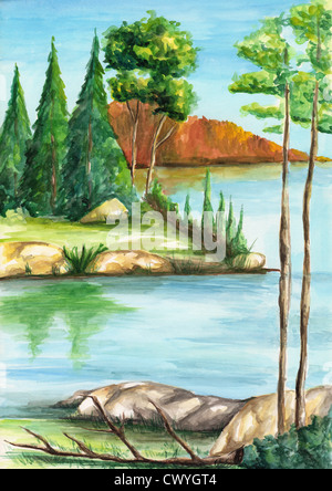 Watercolor landscape painting on art paper - Stock Image