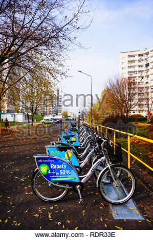 Poznan, Poland - November 8, 2018: Row of rental bikes at the Orla Bialego district in the autumn season. - Stock Image