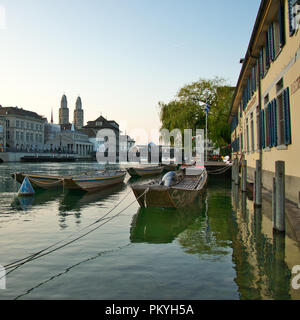 Limmat river in Zurich in the morning - Stock Image
