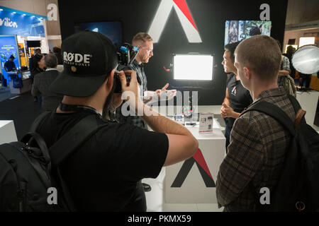 14th of September 2018 - Amsterdam, the Netherlands. First day of the international exhibition the IBC (International Broadcasting Convention)  IBC is theworld's leading media, entertainment and technology show. Six leading international bodies arethe partnersbehind IBC, representing both exhibitors and visitors. In 2016the event had a record attendance,attractingmore than 55,000attendees from 170 countries around the world, exhibiting more than 1,700 of the world's key technology suppliers and showcasing a debate-leading conference. - Stock Image