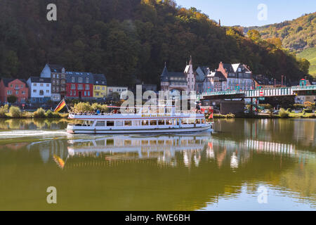 Moselle Valley river cruise boat passing Traben Trarbach a town on the Middle Moselle in Rhineland-Palatinate, Germany, Europe - Stock Image