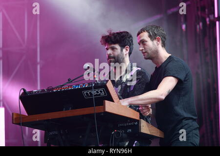 Quebec,Canada. Adrien Soleiman (with beard) on keyboards, with Marvin Jouno at the Francos de  Montreal music festival. - Stock Image