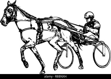 Trotter in harness drawing - vector - Stock Image