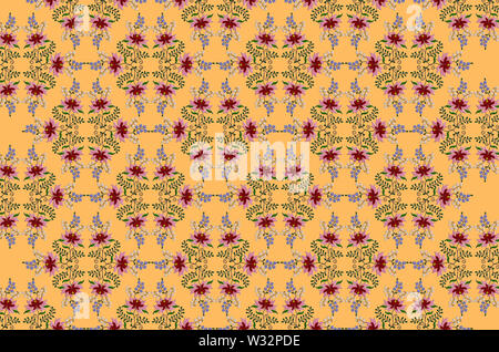 Seamless yellow background  of embroidered stylized large flower with red and pink petals and small blue and white flowers on twisted branches with le - Stock Image
